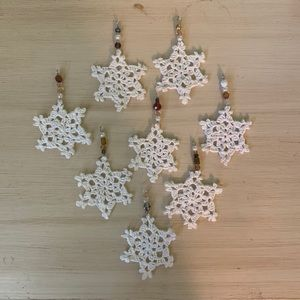 Set of 8 Snowflake Ornaments with Beaded Hangers